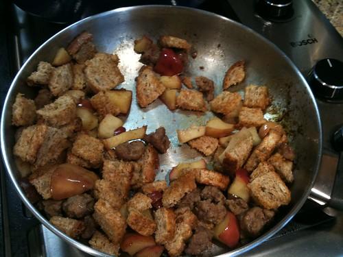 Making apple stuffed pork chops