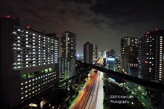 Tokyo..... (Ken.Lam) Tags: bridge light urban japan train reflections island lights mono tokyo rainbow cityscape nightscape traffic illuminations rail   bullet expressway streaks dori  shinkansen chuo urbanscape kaigan shibaura  expressways  nohdr
