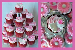 Mia's Christening Cupcakes (Klaire with a Cake) Tags: pink tower cakes butterfly little cupcake gerbera mia daisy christening tlc cupcakery xirj klairescupcakes