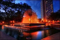 loring park minneapolis dandelion fountain (Dan Anderson.) Tags: park city blue sculpture art water fountain minnesota statue night minneapolis dandelion hour twincities mn loring