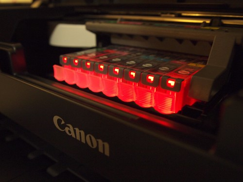 Glowing RedCanon Ink Cartridges
