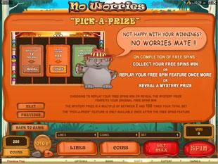 free No Worries slot bonus game