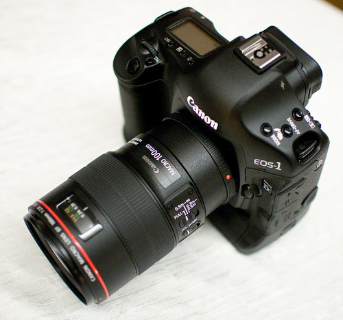 Canon 1D Mark IV with EF 100mm f/2.8 lens attached
