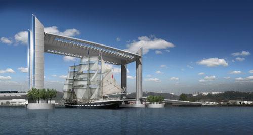 Le futur pont Bacalan-Bastide après les travaux, en 2011. Photomontage GTMVinci/Egis-JMIAOA-Lavigne et Cheron