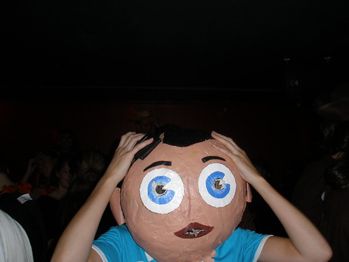 Frank Sidebottom with hands on head