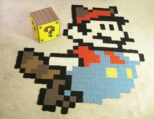 Raccoon Mario rug & Question Block ottoman for Nintendo Power magazine
