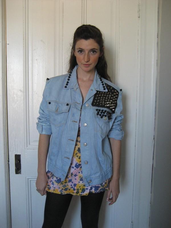 DIY fashion NatalieKulungian studded denim shirt