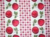 Vintage Pink and Red Apples Cherries (Niesz Vintage Fabric) Tags: old pink red fruit vintage cherries stripes columns textile vintagefabric fabric rows apples material