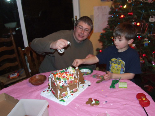 finishing off the gingerbread house