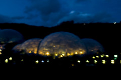 Playing with lights III (Winterspeak) Tags: charity uk november autumn light england abstract color colour building art english fall saint st horizontal gardens architecture night project garden dark landscape botanical lights evening focus rainforest colorful europe soft cornwall mediterranean pattern arty bright artistic time britain dusk patterns united great kingdom blurred architectural illuminated greenhouse dome trust gb botanic eden colourful domes 2009 greenhouses cornish austell biome bodelva biomes charitable