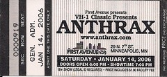 01/14/06 Anthrax/God Forbid/Sworn Enemy/Manntis @ Minneapolis, MN (Ticket)