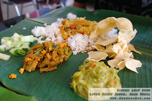 Banana leaf rice- Lotus Curry House, Aman Suria-01