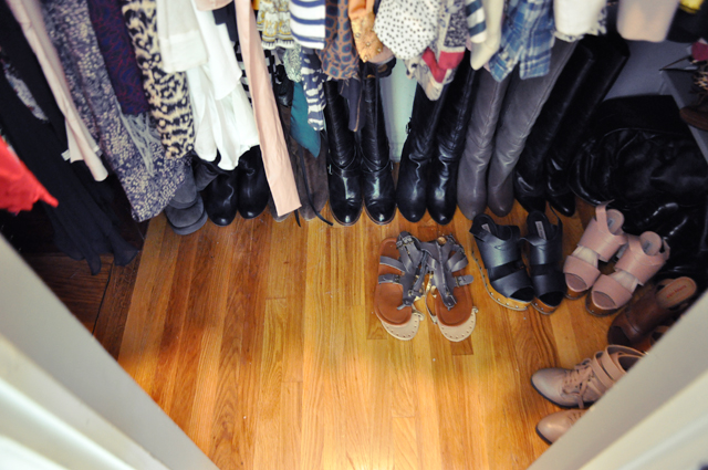 closet floor + everyday shoes and tall boots