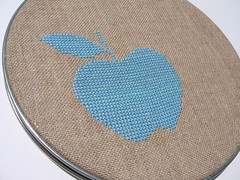Apple (erinsy) Tags: blue apple hoop crossstitch linen embroidery wallwork