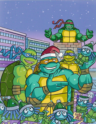 """""""Teenage Mutant Ninja Turtles"""" Holiday Coloring Book by Bendon Publishing / Coloralot Books  { Jumbo edition }  Color cover  art by Lavigne / Brown  (( 2005 ))"""