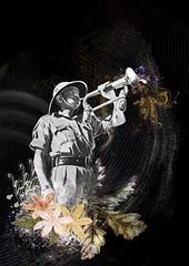 (Mari Coan) Tags: collage illustration photoshop soldier army guerra horn colagem ilustrao soldado exrcito