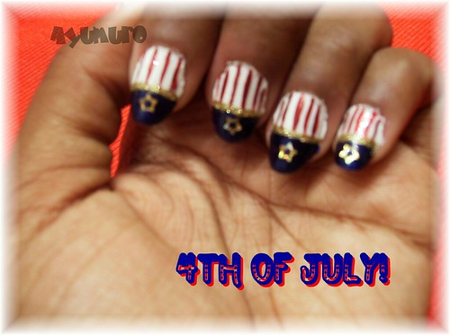 4th July nail art design star-spangled banner