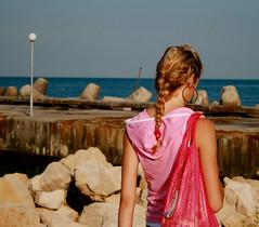 (milena mihaylova) Tags: pink sea summer woman bag candid horizon young bulgaria bg plat varna