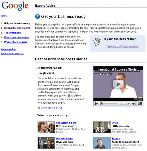 Google Export Adviser website