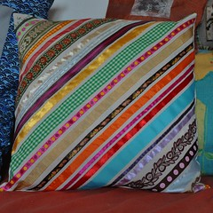 Ribbons (keroleen73) Tags: ribbons handmade fabric imadethis crafty cushion kissen selbstgemacht owndesign stoff bnder