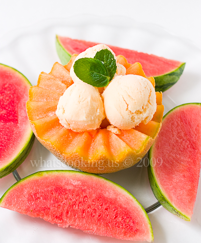 Cantaloup ginger ice cream