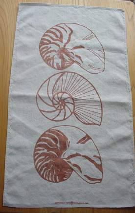 Marushka - three spiral shells - dishtowel