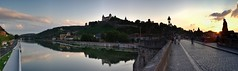 Wrzburg Sunset (pbr42) Tags: bridge sunset panorama water architecture river germany bavaria footbridge main hill h2o fortress wrzburg burg marienberg