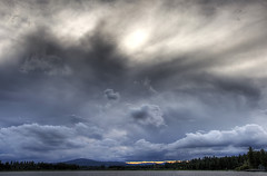 Zephyr (Philerooski) Tags: trees sunset sky panorama mountain lake storm water rain clouds canon washington cloudy pano diamond lightning thunder hdr diamondlake