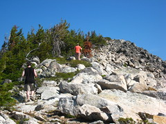 Caleb and Allison on the climb to Parker Peak, Selkirk Mountains, North Idaho.