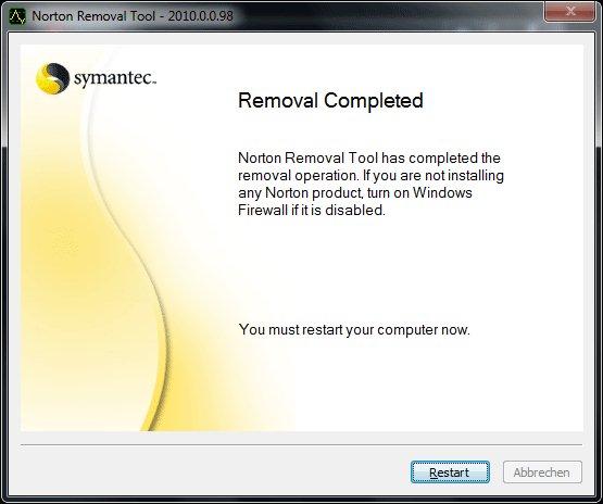 Norton Removal Tools - Schritt 6: Norton Software Dateileichen entfernen
