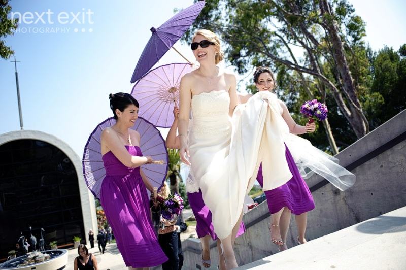 pepperdine wedding purple parasols