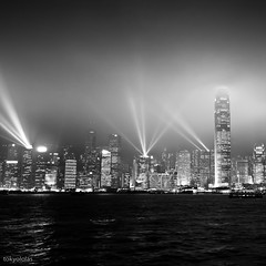 Hong Kong Skyline in Black & White (tokyololas) Tags: city urban skyline night buildings blackwhite hong kong explore frontpage tokyololas hongkongharbourlasershow