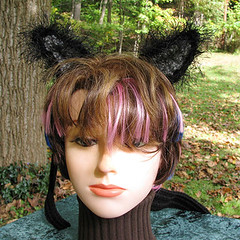 Black and Grey Cat Ears on a Black Headband