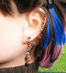 Black and Orange Halloween Cartilage Chain Earring