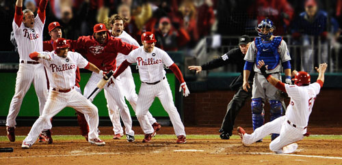 Down by a run with two outs in the bottom of the ninth, Jimmy Rollins (not pictured) hit a walk-off double to the right-center gap. Phillies lead 3-1 in the 2009 NLCS.