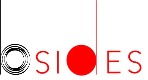 "bsides logo, all in simple lowercase letters with ""b"" in black and ""sides"" in red."