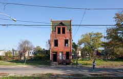 Walking a Dog in Strawberry Mansion (metroblossom) Tags: dog building philadelphia boys kids pennsylvania study residential derelict isolated strawberrymansion img1731