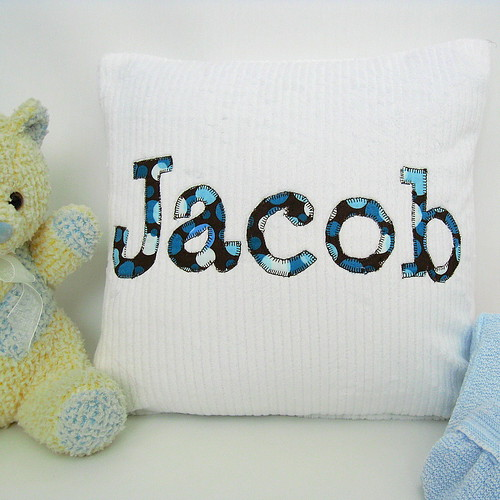 Aqua and Chocolate Dot Personalized Baby Pillow