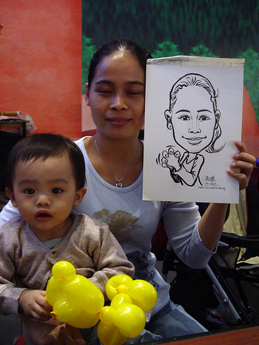 Caricature live sketching for Marina Square X'mas Tenants Gathering 2009 - 9