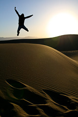 252.365 - The Dunes (Universal Stopping Point) Tags: california morning light mountains silhouette self sunrise early jump jumping sand glow desert dunes footprints 365 sanddunes deathvalleynationalpark project365 sandripples 365icon contrastvibrancybrightness 365icon682