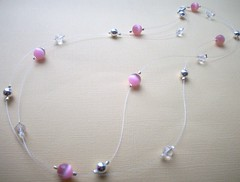 (Simply Unique Kreation) Tags: pink silver necklace crystal floating jewelry etsy doublestrand
