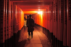 monorailed (maybemaq) Tags: light red japan night kyoto gate shrine commerce inari gates path corridor belief holly kanji  monorail torii jinja breathtaking fushimiinari fushimi  mbius  maybemaq colorphotoaward chinesescripts