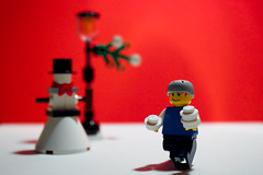 up to mischief  - day 49 (jonoakley) Tags: red wallpaper snowman advent lego background calender snowball