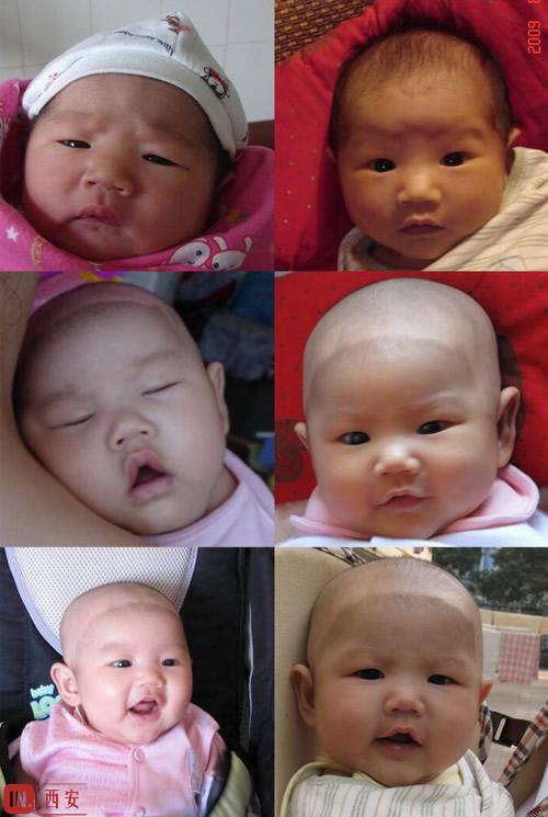 孩子从出生到五个月的照片组合,愿她健康快乐成长