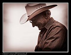 Les (KansasA) Tags: ranch blackandwhite bw hat canon cowboy farm branding