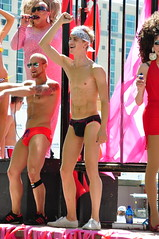 Speedo'd Men and Drag Queen, Utah Pride Parade 2011 (brycewgarner) Tags: gay america utah saltlakecity prideparade lgbt speedo prideparade2011
