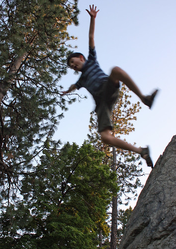 Flying off a rock