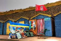 mrs huts (fast eddie 42) Tags: uk beach coast kent seaside flags huts beachhuts margate fasteddie42