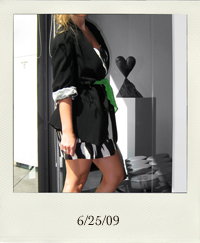 vintage boyfriend blazer, vintage green scarf as belt, forever 21 black and white dress, jessica simpson zipper booties, 6-25