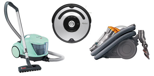 Collage de nuestras amigas las aspiradoras, Roomba, una de agua y una Dyson